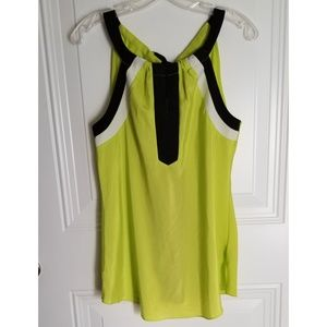 ECI New York size M blouse chartreuse black EUC